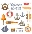 collection nautical symbols and items vector image vector image