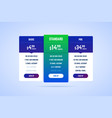 color pricing table for websites and applications vector image