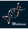 DNA helix symbol made up of medical sketch icons vector image vector image