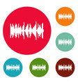 equalizer vibration icons circle set vector image vector image