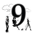 fashion girls in sketch style with number nine vector image