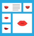 flat icon lips set of smile lipstick lips and vector image vector image