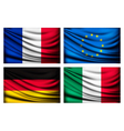 Four flags - EU Italy France Germany vector image vector image