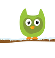 funny green animal on a branch vector image vector image