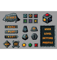 game design ui kit cartoon buttons banners vector image