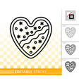 gingerbread cookie heart black line icon vector image vector image