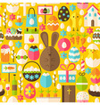 Happy Easter Holiday Flat Yellow Seamless Pattern vector image