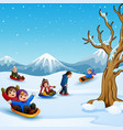 happy kids playing sledding in snow vector image vector image