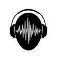 headphones icon with sound wave beats headphones vector image vector image