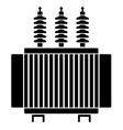 High voltage electrical transformer black symbol vector image