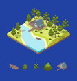 house forest lake and elements concept 3d vector image vector image