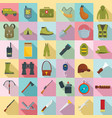 hunting equipment icons set flat style vector image