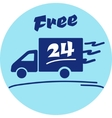 Icon of Free delivery 24 hour vector image