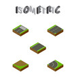 isometric way set of unilateral turn down and vector image vector image