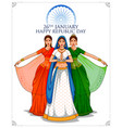 lady in tricolor saree of indian flag for 26th vector image vector image