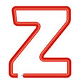 letter z plastic tube icon cartoon style vector image vector image