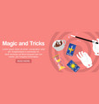 magician hands holding magic wand cards sand vector image