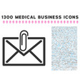 mail attachment icon with 1300 medical business vector image