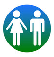 male and female sign white icon in bluish vector image vector image