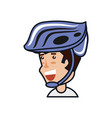man cyclist with helmet security vector image