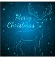 Merry Christmas blue deer vector image