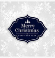 merry christmas elegant white snowflakes card vector image