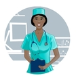 Nurse with stethoscope writes notes vector image