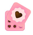 pink box with chocolate sweets and heart symbol on vector image