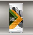 roll up banner stand template design vector image vector image