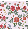 Seamless Watercolor Pattern with Red Roses vector image vector image