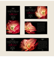 set black elegant cards with red poppies vector image vector image