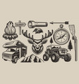 set elements for camping theme vector image