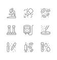 set line icons hematology vector image vector image