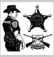 sheriff set - design elements badge vector image vector image