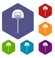 Street basketball hoop icons set
