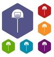 Street basketball hoop icons set vector image vector image