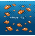 Striped orange fish on a blue background vector image vector image