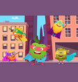 superheroes in city urban landscape with fruits vector image vector image