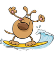 surfing dog cartoon vector image