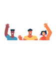 three diverse friends waving hello isolated vector image vector image