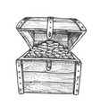 treasure chest filled golden coins ink vector image vector image