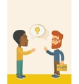 Two businessmen talking about business vector image