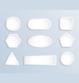 white blank square and round button stock set vector image