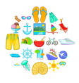 wild rest icons set cartoon style vector image vector image