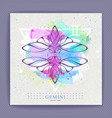 witchcraft card with astrology gemini zodiac sign vector image vector image
