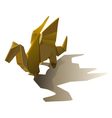 Yellow isolated origami winged dragon with shadow vector image vector image