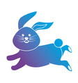 contour cute rabbit animal running vector image