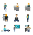 Student Flat Icons Set vector image
