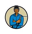 african american welder mascot vector image vector image