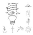 bio and ecology outline icons in set collection vector image vector image
